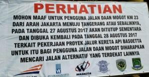 27 Agustus 2017 (Besok) Jalan Daan Mogot KM 23 Akan Ditutup Sementara Terkait Proyek Jalur Kereta Api Bandara Seokarno Hatta