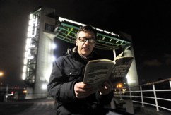 NEWS with story 2-2-217 Artist Michael Pinsky at new art installation on the Tidal barrier. Picture: Simon Renilson