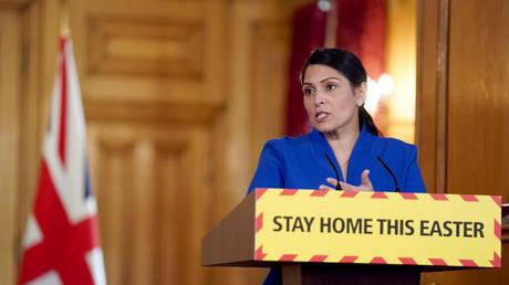 Priti Patel delivers a coronavirus press briefing at 10 Downing Street, London, April 11, 2020 © Reuters / Pippa Fowles