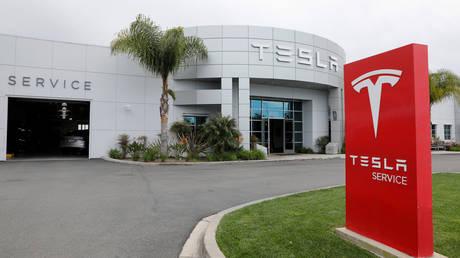 FILE PHOTO: A Tesla service center is shown in Costa Mesa, California, U.S., March 18, 2020.