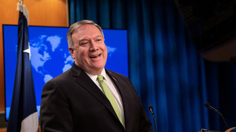 US Secretary of State Mike Pompeo speaks to the media at the State Department in Washington, DC on May 20, 2020.