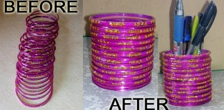 How To Make Pen Stand From Bangles