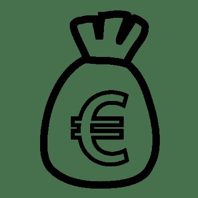 Vue d'un sac avec un sigle euro dessus