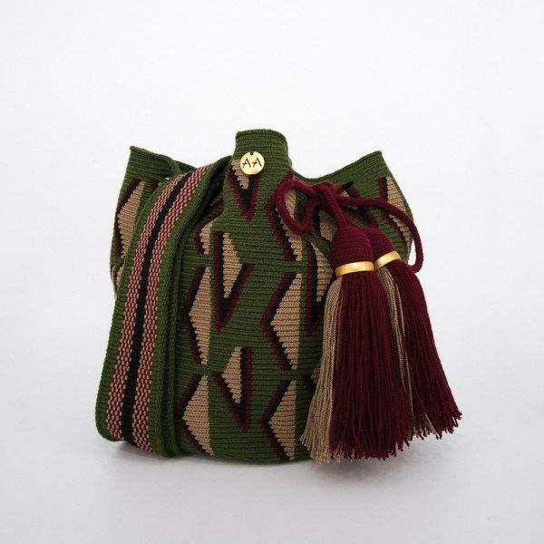 Fiera Medium Bucket Bag in Khaki / Burgundy / Forest Green Aaluna Collections bucket bag