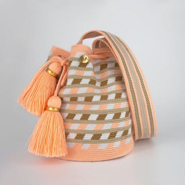 Canasto Medium Patterned Bucket Bag in Peach / Hazelnut / White Aaluna Collections