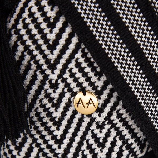 Escama Medium Bucket Bag in Black / White Aaluna Collections