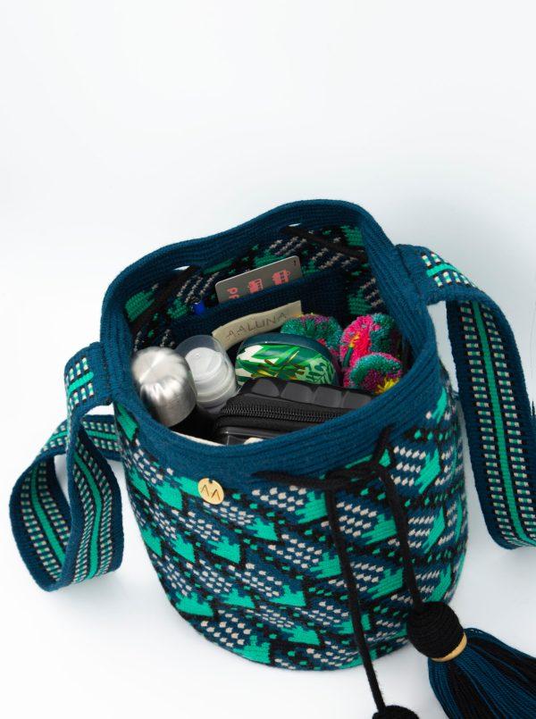 Flecha Medium Patterned Bucket Bag in Blue Duck/Turquoise/Black/Linen Aaluna Collections bucket bag