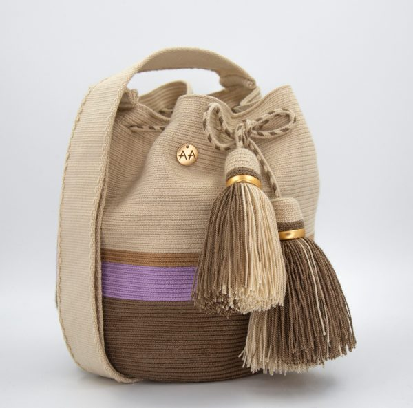 Canasto Medium Stripes Bucket Bag Cream/Hazelnut/Lila/Ash Aaluna Collections bucket bag