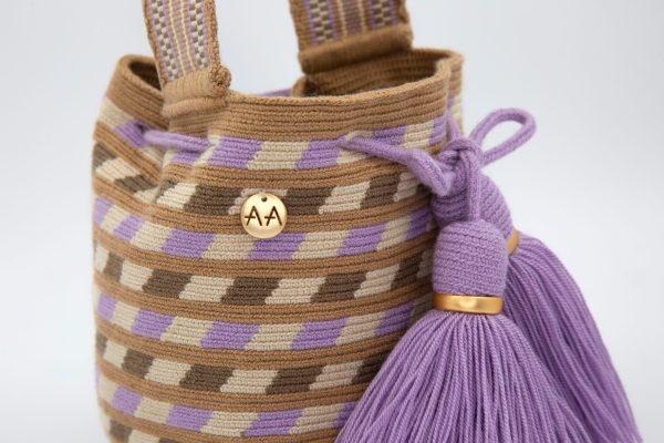 Canasto Handcarry Patterned Bucket Bag in Cream/Hazelnut/Ash/Lila Aaluna Collections bucket bag
