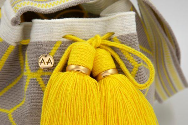 フロール ミディアムバケットバッグ レモン / リネン / オフホワイト Aaluna bucket bag