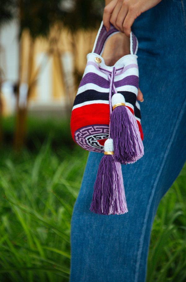 Jalianaya Handcarry Bucket Bag Stripes in White/Lila/Purple/Navy/Red Aaluna Collections bucket bag