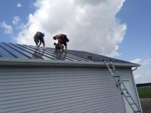 in progress metal roof project