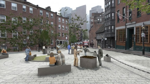 North Square Public Art Rendering, Map Sculpture
