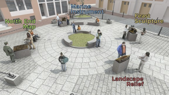 North Square Public Art rendering, labelled