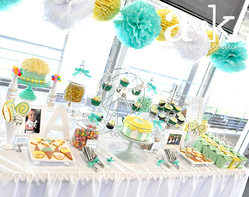 Adrians Pastel Green Amp Yellow Carnival Themed Naming Day