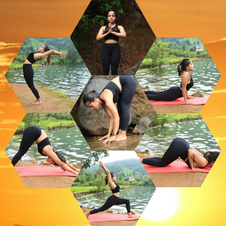 A compilation of the different poses of the Sun salutation or Suryanamaskar