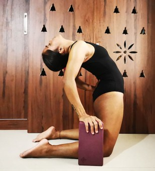 Camel pose with yoga block