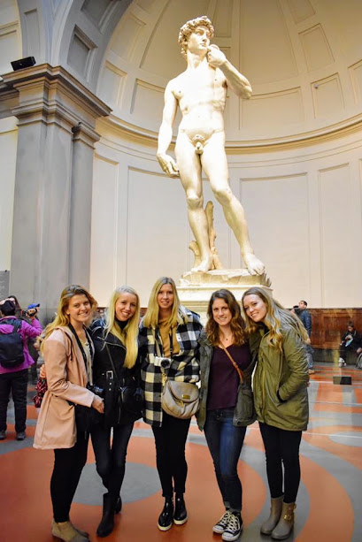 5/6 roomies at the statue of David