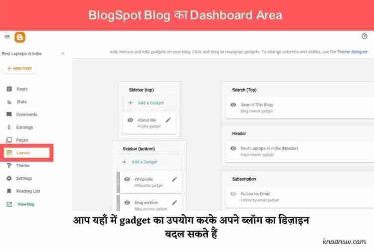 BlogSpot Dashboard Area का एक विस्तृत अवलोकन