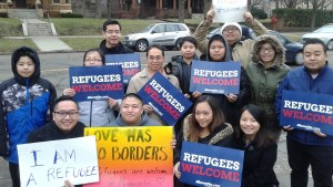 Refugee-Minnesotans show support for Syrian refugees in front of the Governor's official residence in St. Paul, Minn. on Dec. 6, 2015. (Contributed photo)