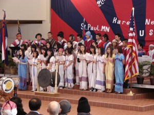 The Karen Christian Youth Choir performing at the 2010 Karen New Year event in Roseville. (AAP photo)