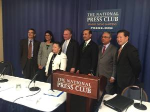 Founders and speakers from the AAPI Victory Fund press conference, with Kavita Challa, Bel Leong-Hong, U.S. Senator Tim Kaine, Dilawar Syed, Shekar Narasimhan and Chris Lu at The National Press Club. (AAPI Victory Fund photo)