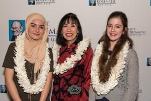 Fred T. Korematsu Middle School speech winnersMadeeha Khan, left, and Vivien Wallis, right, with Karen Korematsu.
