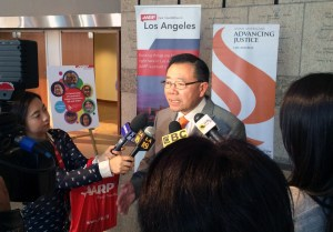 Stewart Kwoh, executive director and president of Asian Americans Advancing Justice-Los Angeles, speaks with the media at the report's launch. According to the report, the Asian American older-adult population in Los Angeles County grew 56 percent from 2000 to 2010; among racial groups, only the county's Latino population age 50-plus grew at a faster rate.