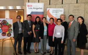"""Staff members from Asian Americans Advancing Justice-Los Angeles and AARP gather at the launch of their joint report """"A Community of Contrasts: Asian Americans 50 and Older (Los Angeles County),"""" which identifies critical concerns for Asian American older adults, including economic challenges, language and educational barriers, and health issues."""