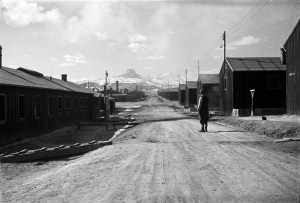 A picture taken at Heart Mountain Japanese American relocation camp during World War II.  (Photo courtesy of George and Frank C. Hirahara Collection, Washington State University Libraries, MASC)