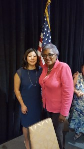 U.S. Rep. Grace Meng (NY-6) was elected vice chair of the Democratic National Committee Friday, with DNC Interim Chair Donna Brazile. (Contribute photo)