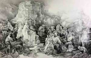 Liu Dan, Reimagining the Lystra Scene, 2016 Ink on paper 118 1/8 × 78 3/4 in. Collection of Minneapolis Institute of Art