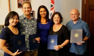 Hawai'i teachers presented with a Presidential Award for Excellence in Mathematics and Science Teaching in Washington on Friday, from left, Alicia Nakamitsu, Bryan Silver, U.S. Rep. Tulsi Gabbard (HI-2), Eliza Yoshida, Stan Mesina.