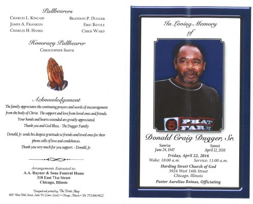 Donald Craig Dugger Obituary from Funeral Service at AA Rayner and Sons Funeral Home in Chicago