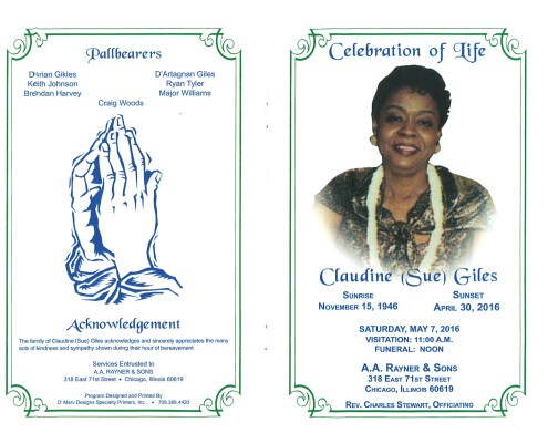 Claudine Sue Giles obituary from funeral service at aa rayner and sons funeral home in chicago illinois