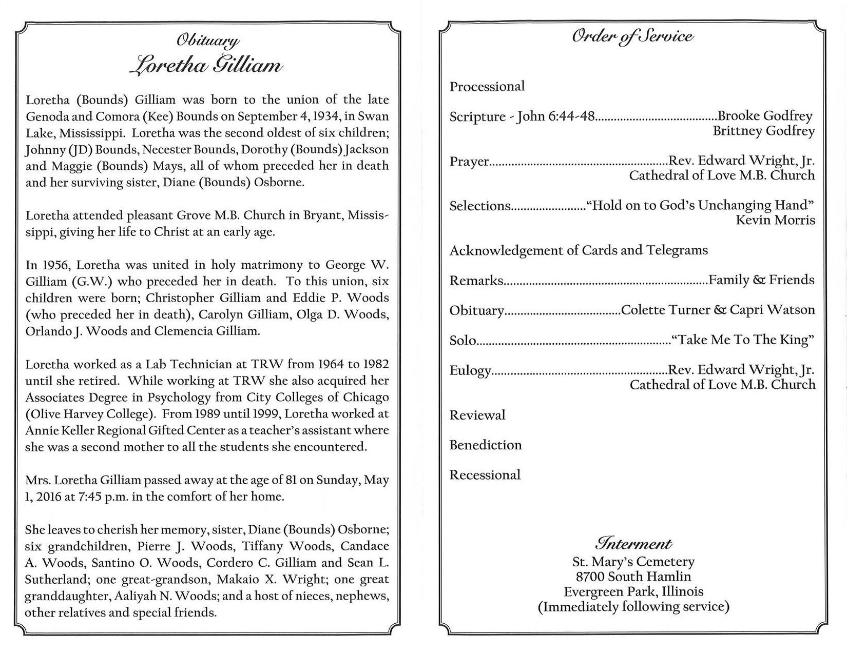 Loretha Gilliam Obituary 2 – AA Rayner and Sons Funeral Home