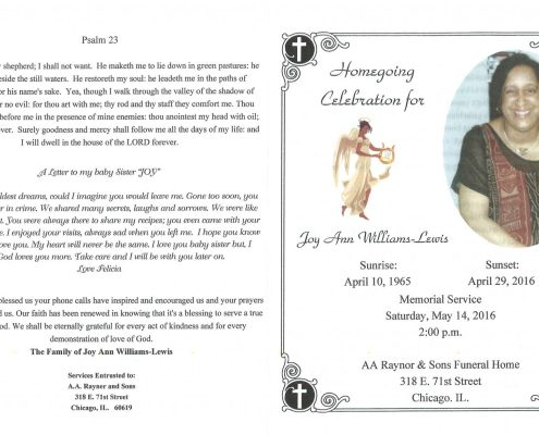 Joy Ann Williams Lewis obituary obituary from funeral service at aa rayner and sons funeral home in chicago illinois