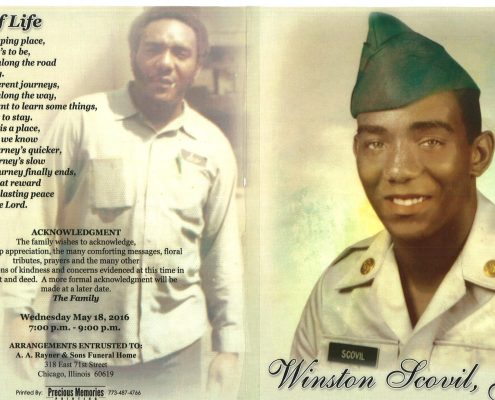Winston Scovil Jr obituary from funeral service at aa rayner and sons funeral home in chicago illinois