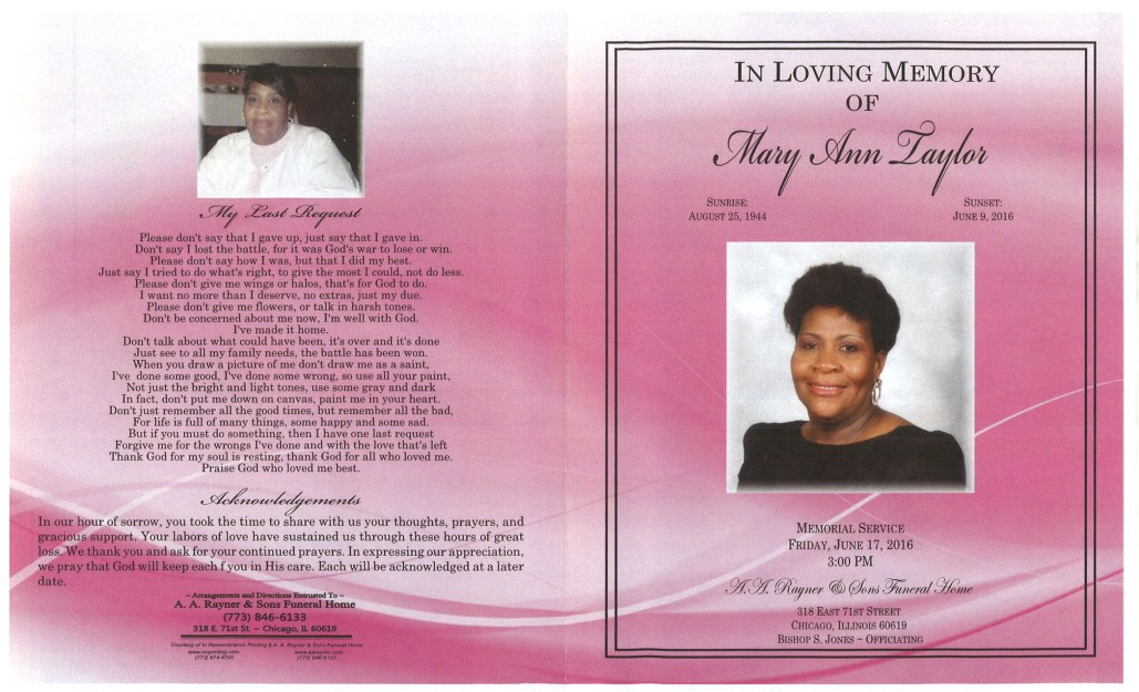 Mary Ann Taylor OBituary from funeral service at aa rayner and sons funeral home in chicago illinois