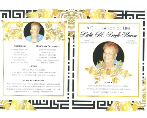 Katie M Doyle Haron Obituary from funeral service at aa rayner and sons funeral home in chicago illinois