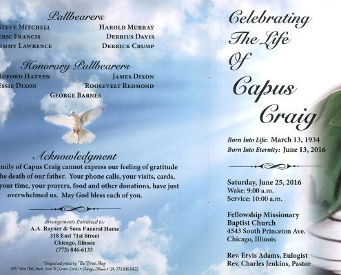 Capus Craig Obituary from funeral service at aa rayner and sons funeral home in chicago illinois