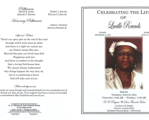 Lucille Rounds Obituary from funeral service at aa rayner and sons funeral home in chicago illinois