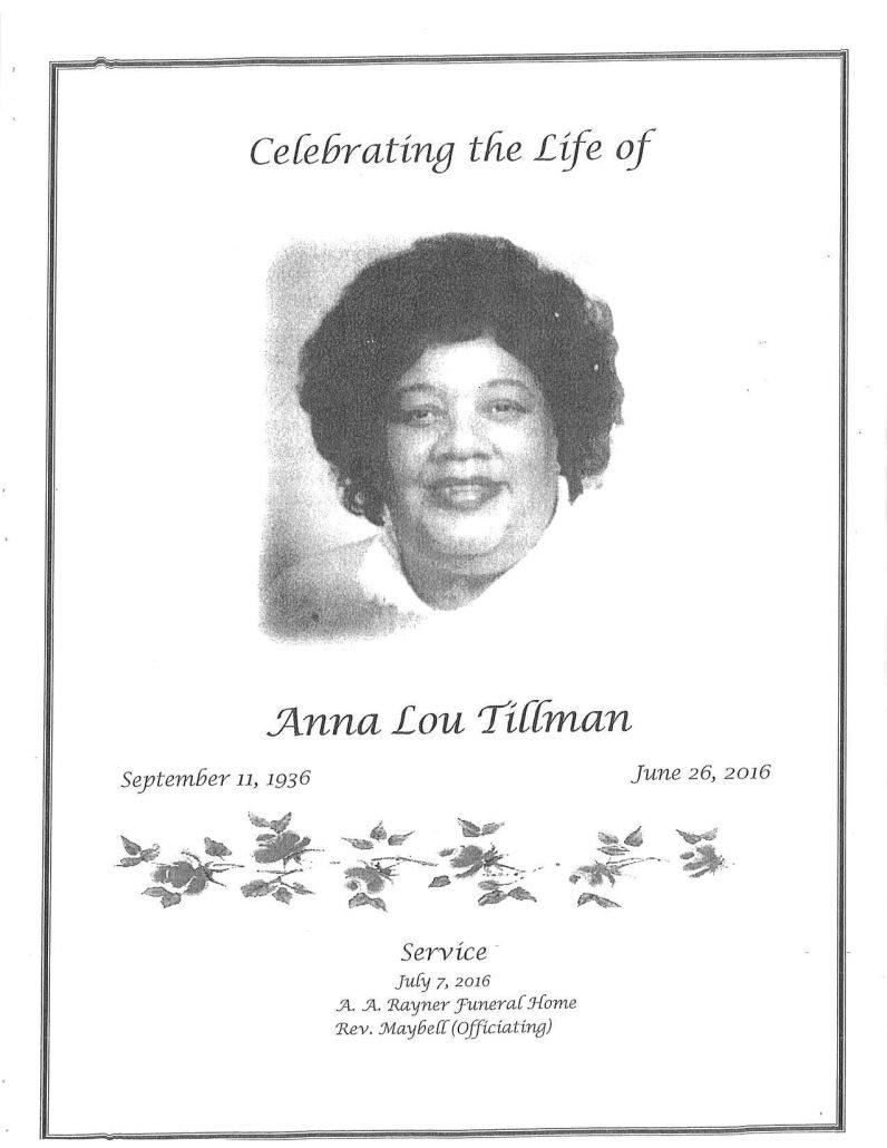 Anna Lou Tillman Obituary