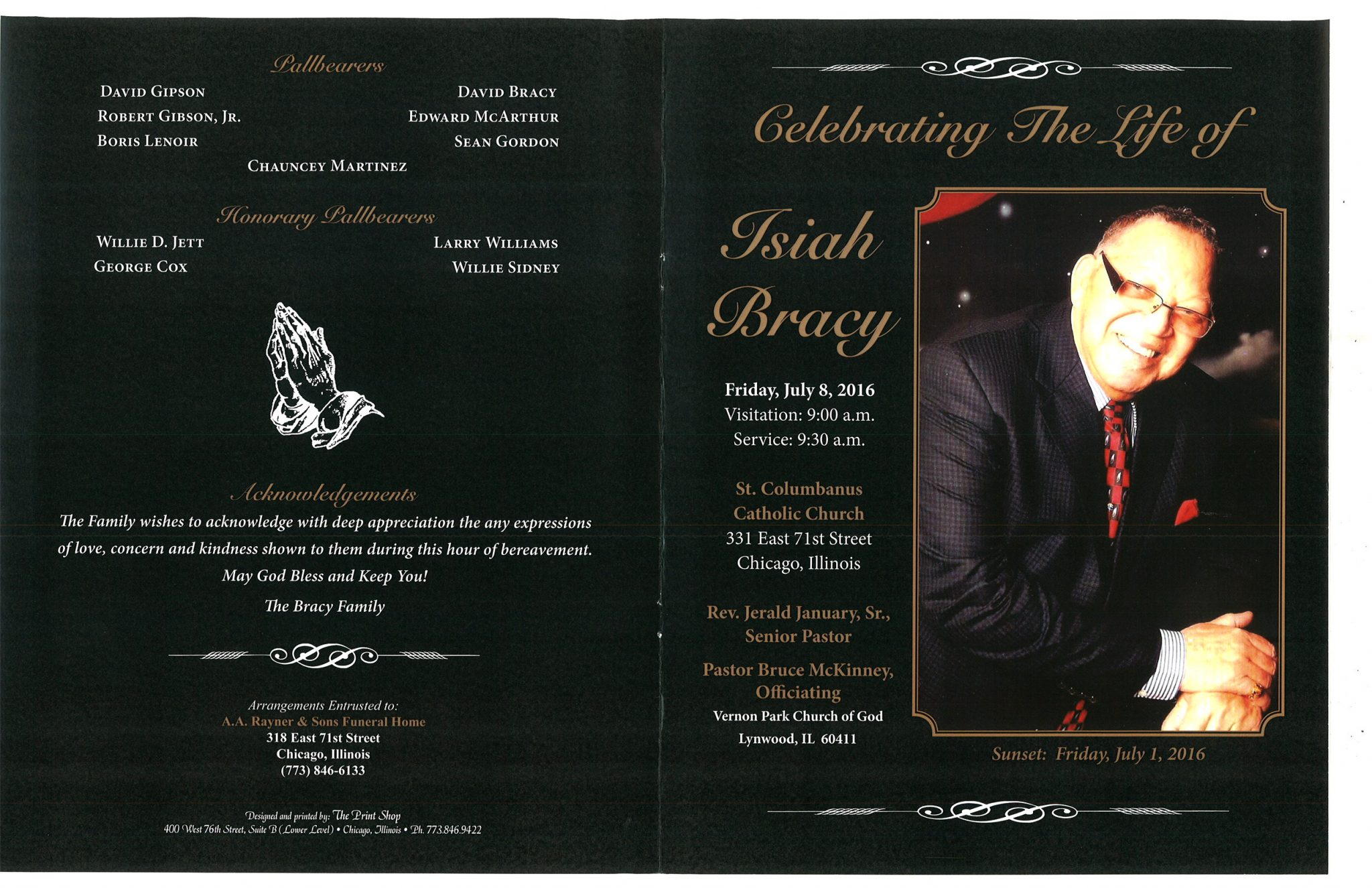 Isiah Bracy Obituary 2053_001 – AA Rayner and Sons Funeral Home