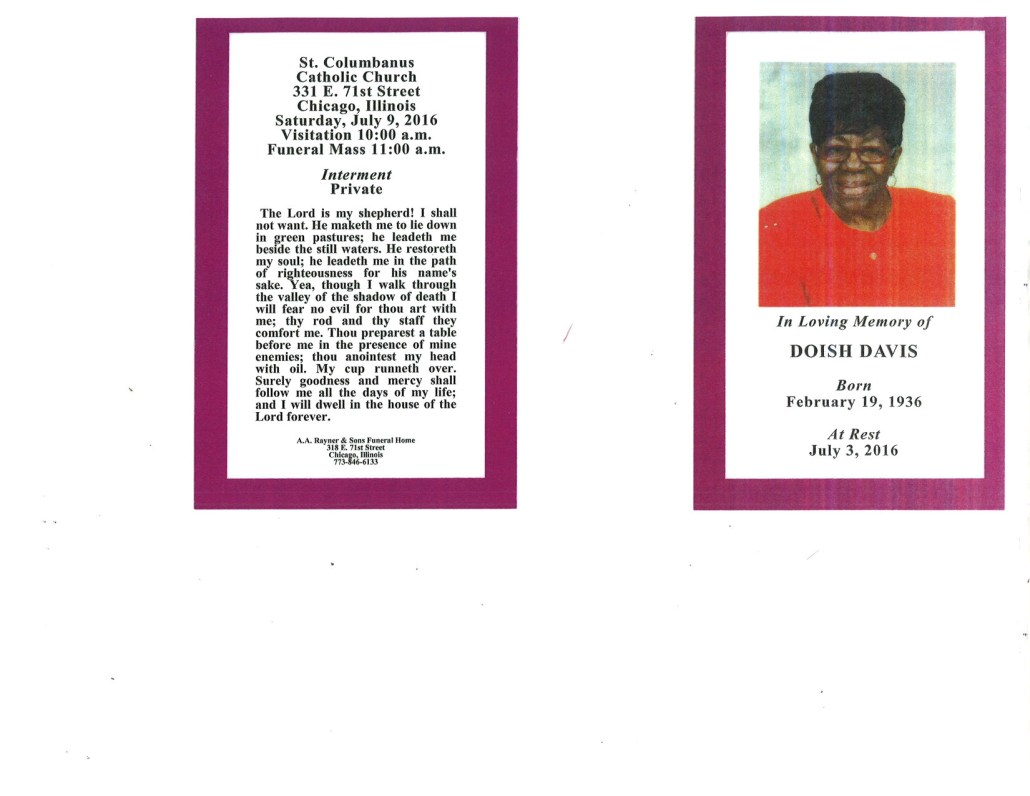 Doish Davis obituary from funeral service at aa rayner and sons funeral home in chicago illinois