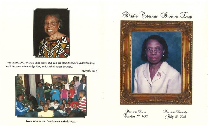 Biddie Coleman Brown Esq Obituary from funeral service at aa rayner and sons funeral home in chicago illinois