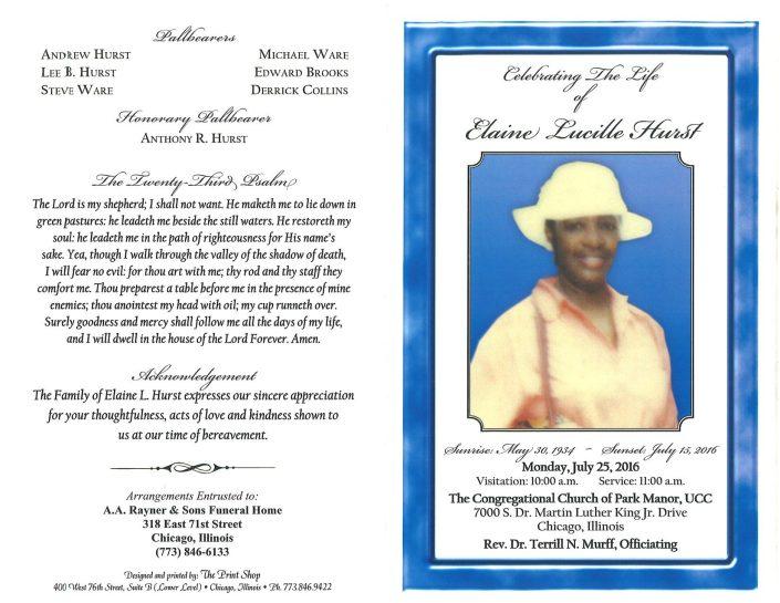 Elaine Lucille Hurst Obituary 1