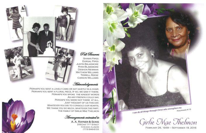 Girlie Mae Thelmon Obituary