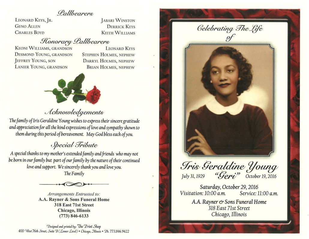 Iris Geraldine Young Obituary AA Rayner and sons funeral Home Chicago Illinois