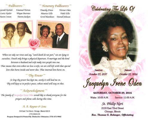 Jacquelyn Irene Oden Obituary